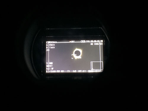Eclipse through the Camera Viewfinder | Credit: Joan Cartan-Hansen