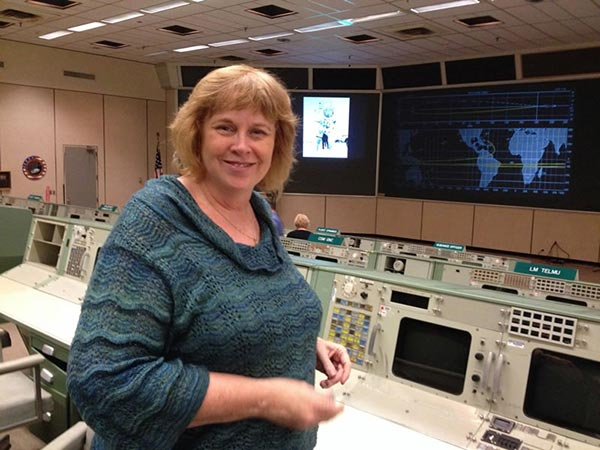 Joan in the Control Room of NASA's Johnson Space Center in Houston, TX.