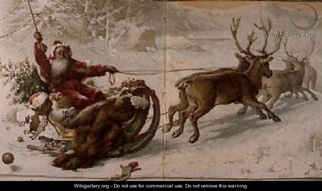 Santa Claus driving his sleigh through the snow. Oil on canvas by John Lawson [Source: Wikigallery]
