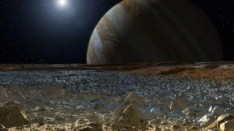 Europa - Looking at Jupiter | Credit: NASA