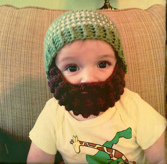 Baby with crochet beard | Credit: KnittyLizzie (https://www.flickr.com/people/knittylizzie/)