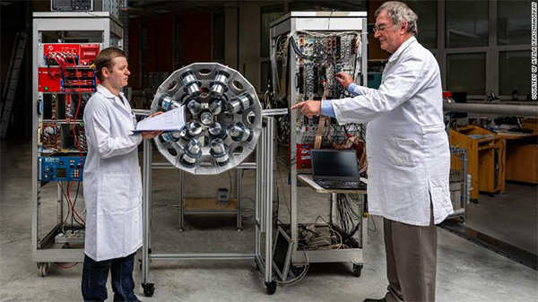 Physicist Attila Krasznahorkay, right, works with a fellow researcher at the Institute for Nuclear Research at the Hungarian Academy of Sciences. | Attila Krasznahorkay