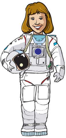 Joan in astronaut suit
