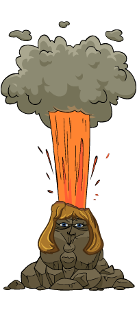 Cartoon Joan as an erupting volcano