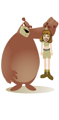 Cartoon Joan held up by brown bear