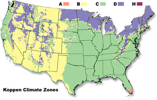 climate zones USA