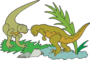 Two dinosaurs fighting illustration