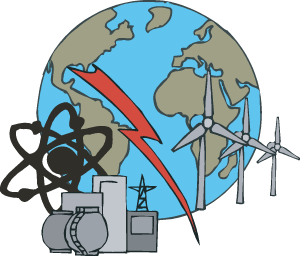 Cartoon of Earth and different renewable resources