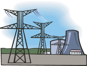 Cartoon drawing of nuclear power plant