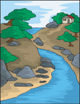 River and House
