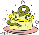 Snake with a birthday cake