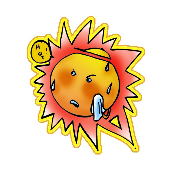 Cartoon of a hot sun