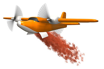 A plane dropping fire retardant